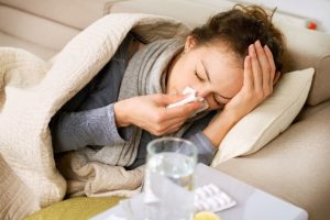Woman feeling ill