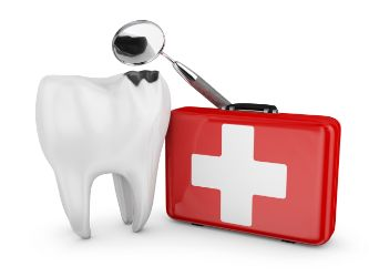 First-aid kit used by an emergency dentist